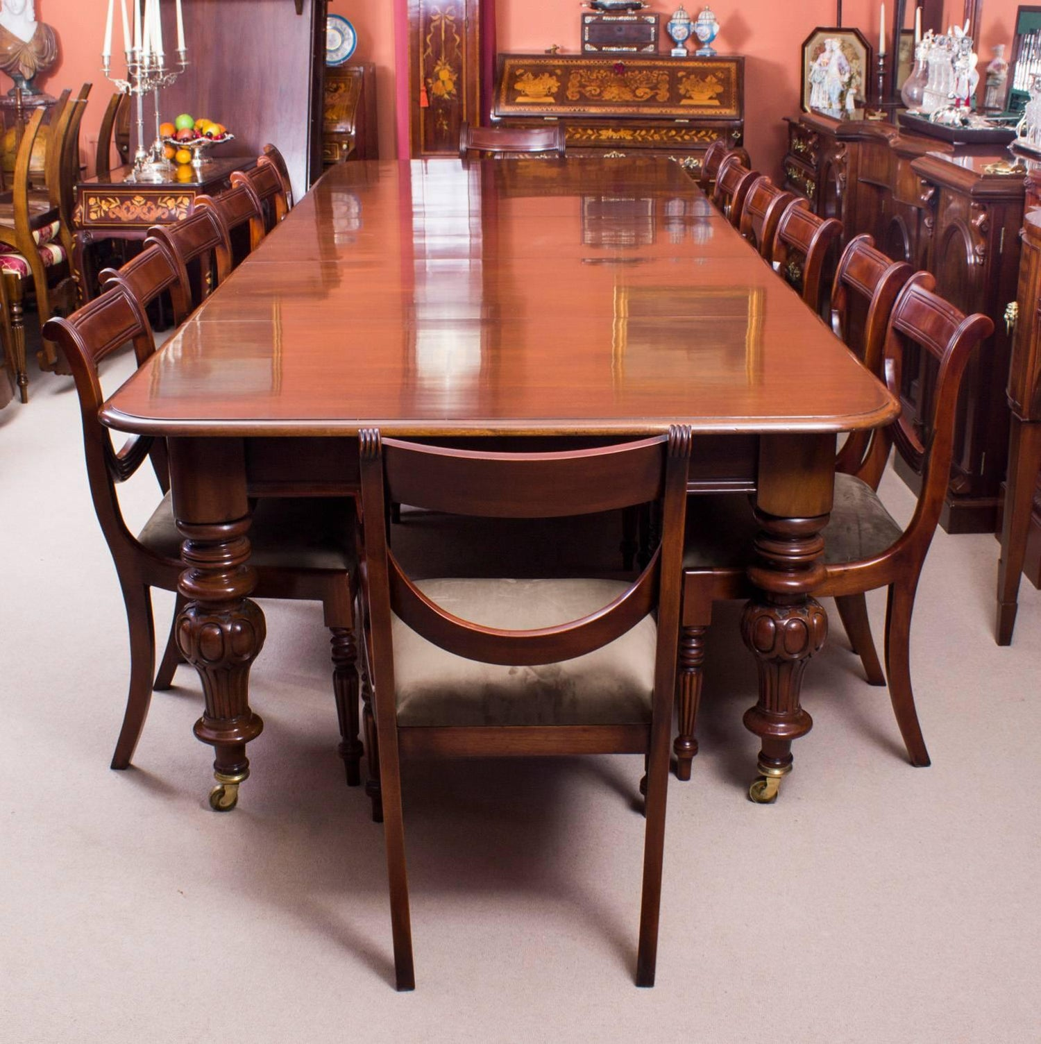 19th Century Victorian 12 ft Flame Mahogany Extending Dining Table ...