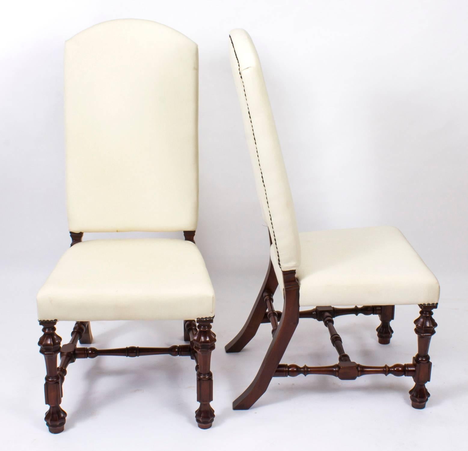 An Absolutely Fantastic English Made Set Of 12 Bespoke Padded High Back  Dining Chairs. These