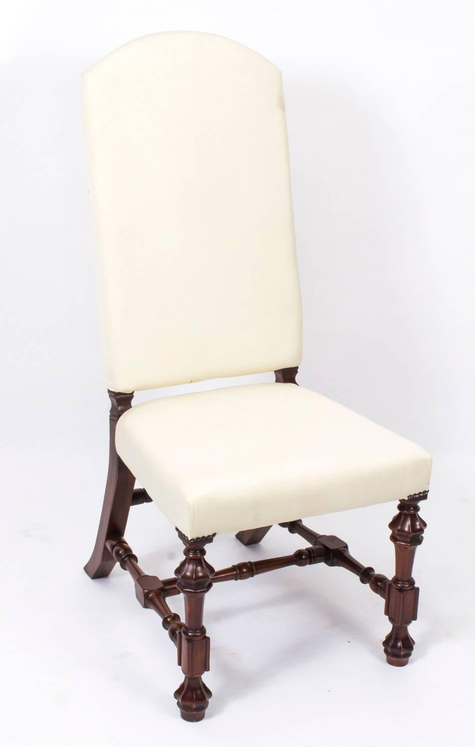 Bespoke Set Of 12 Carolean Style Upholstered High Back Dining Chairs At  1stdibs