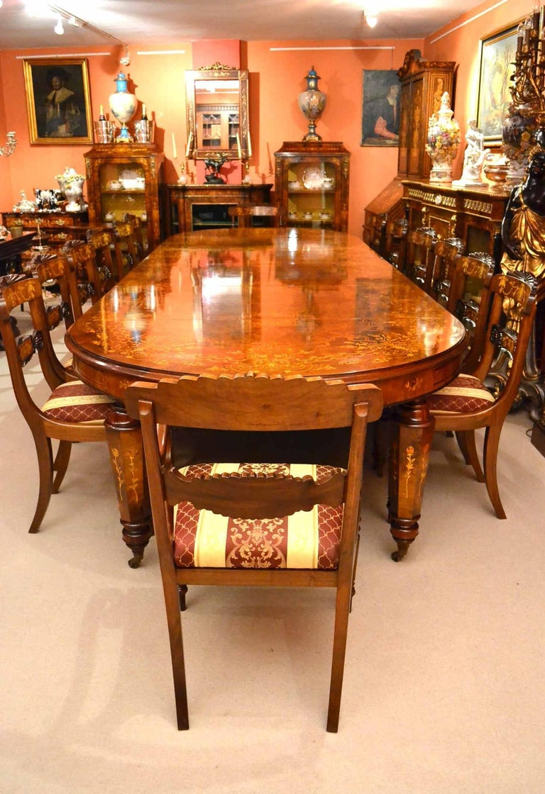 Bespoke Handmade Marquetry Burr Walnut Dining Table And 14