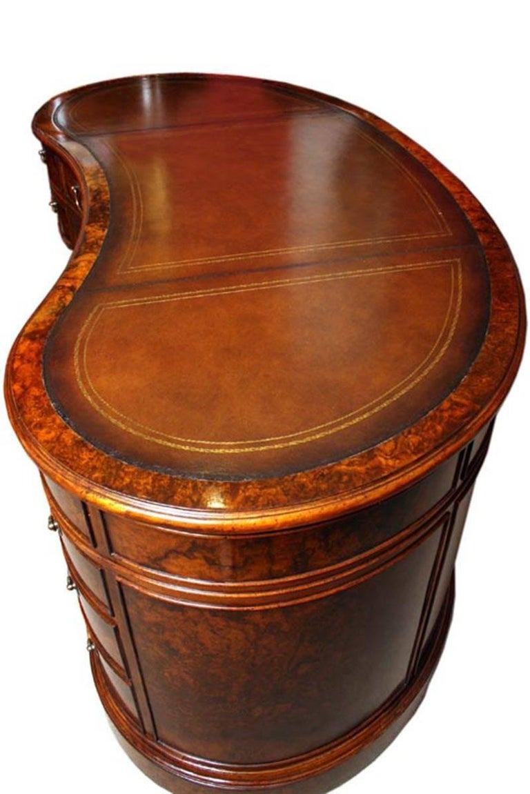 Bespoke Burr Walnut Kidney Desk in Victorian Style For Sale 1