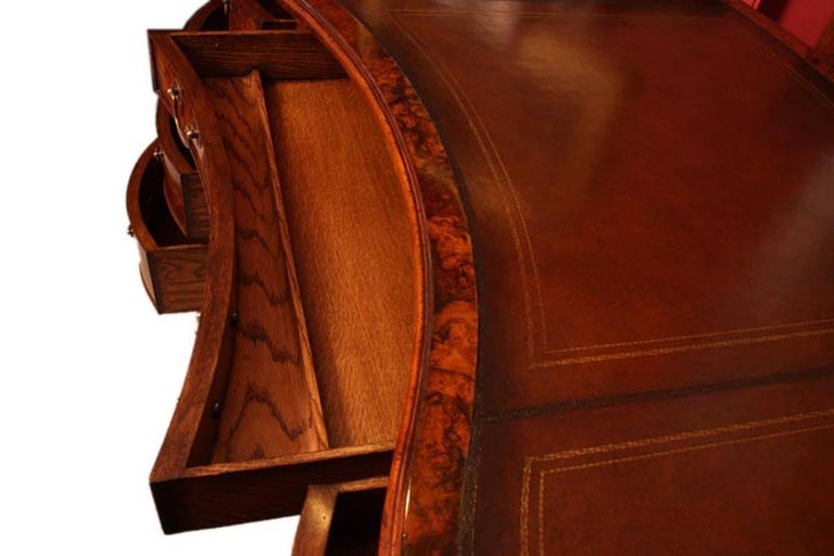 Bespoke Burr Walnut Kidney Desk in Victorian Style For Sale 2