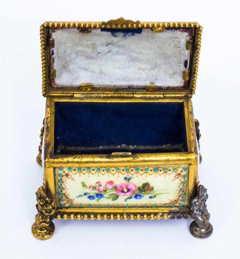 French 19th Century Ormolu-Mounted Limoges Enamel Jewel Casket Box For Sale