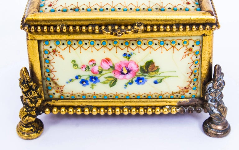 19th Century Ormolu-Mounted Limoges Enamel Jewel Casket Box In Excellent Condition For Sale In London, GB