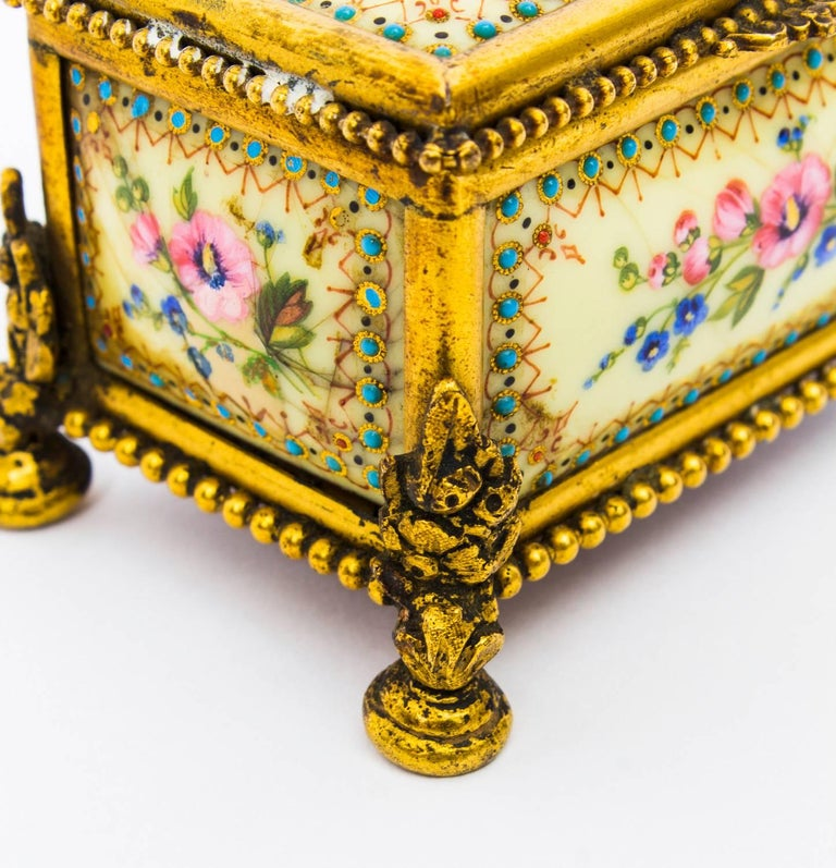 Late 19th Century 19th Century Ormolu-Mounted Limoges Enamel Jewel Casket Box For Sale