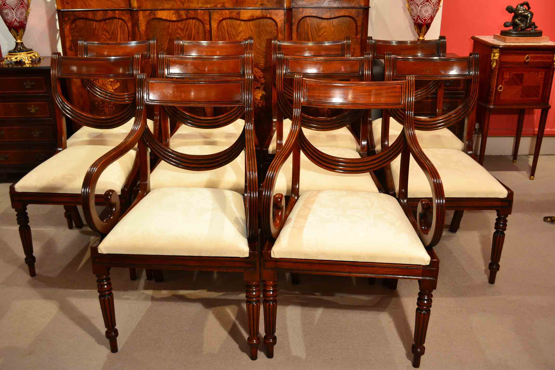 English Regency Dining Table And Ten Drape Chairs For Sale At 1stdibs