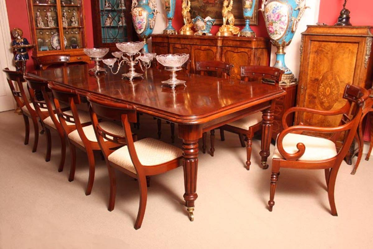 An Absolutely Fantastic English Made Extendable Regency Style Dining Room  Table With Ten Matching Chairs