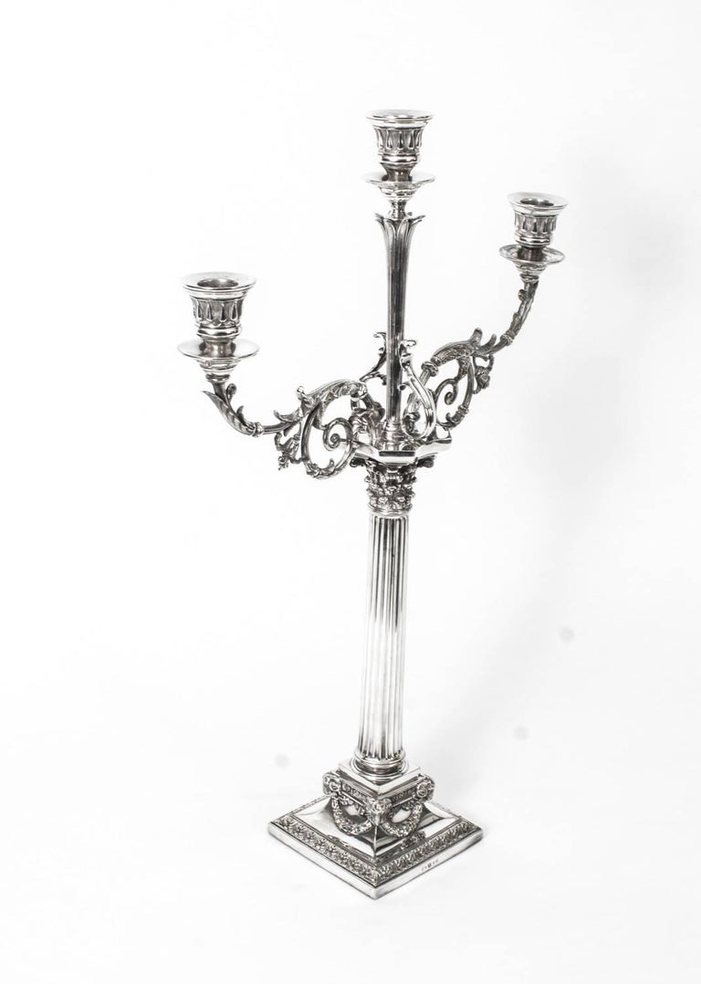 English 19th Century Pair of Victorian Three-Light Candelabra Elkington For Sale