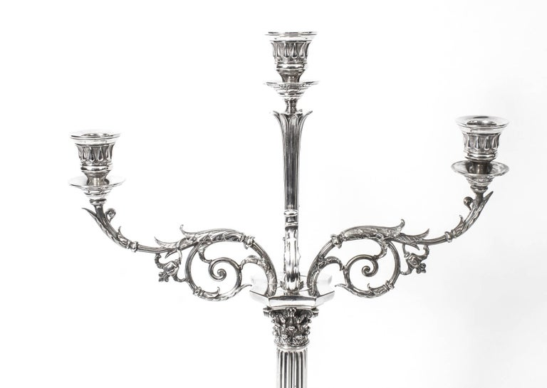 19th Century Pair of Victorian Three-Light Candelabra Elkington In Excellent Condition For Sale In London, GB