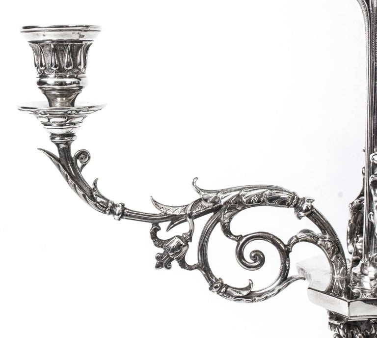 Silver Plate 19th Century Pair of Victorian Three-Light Candelabra Elkington For Sale