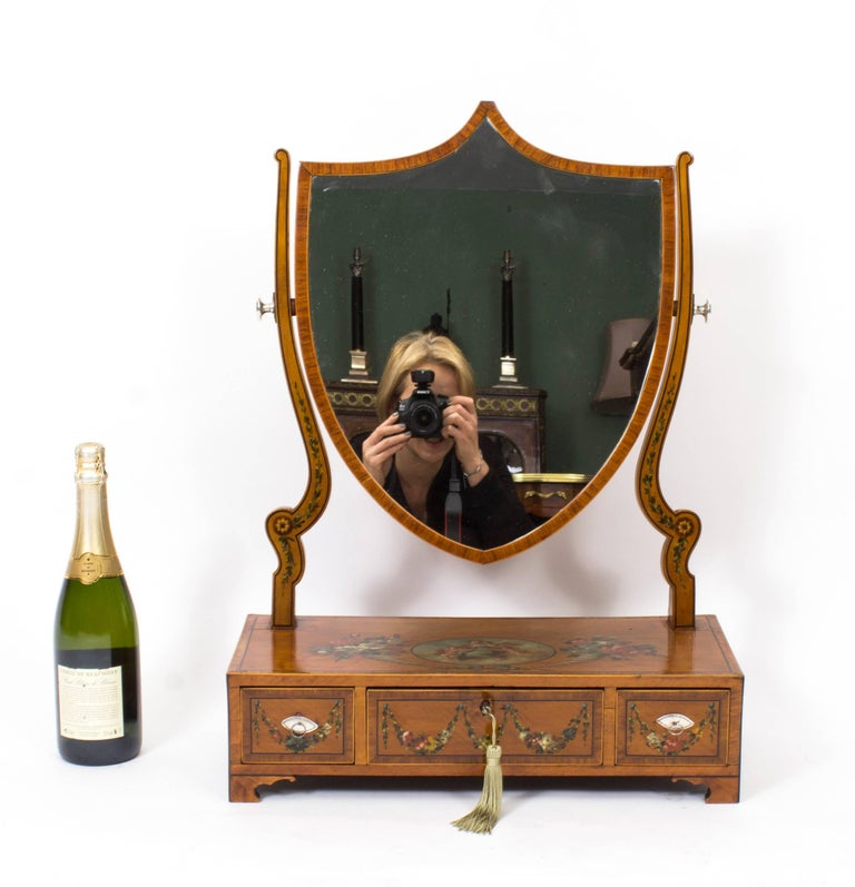 Antique Satinwood Painted Dressing Table Mirror Circa