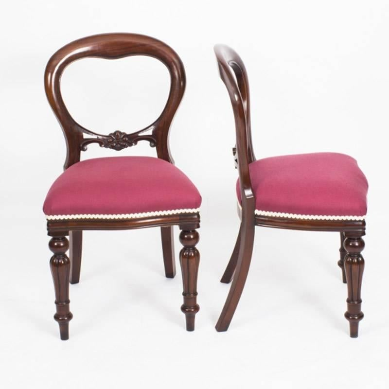 19th Century Mahogany Dining Table And Ten Balloon Back Chairs For Sale 4