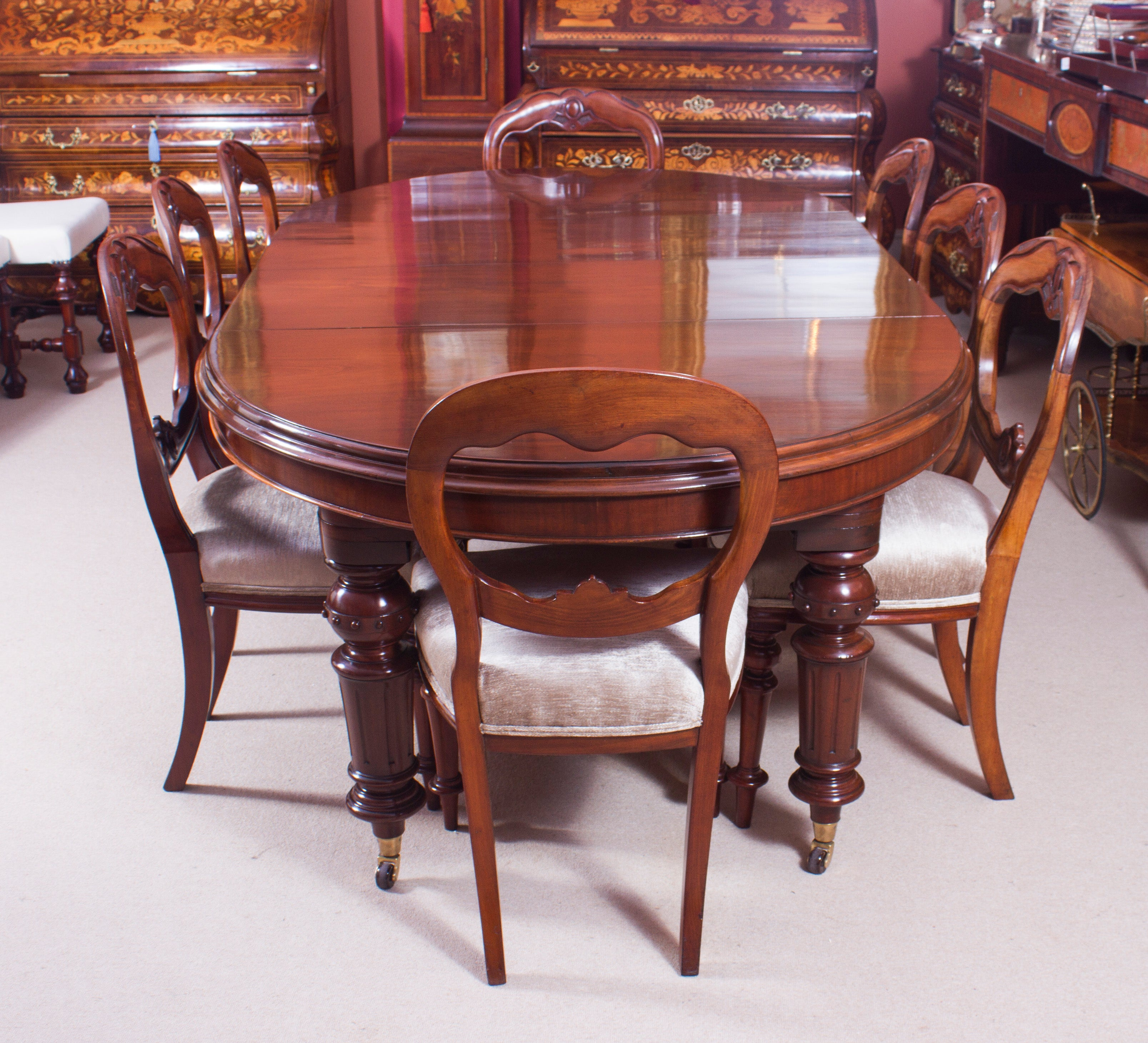 19th Century Victorian Oval Dining Table And Eight Antique Chairs At 1stdibs