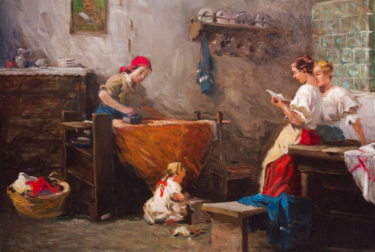 Italian Antique Oil Painting by Eugenio Zampighi Titled News from the Front 1885