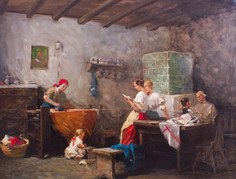 This is a beautiful oil on canvas painting titled 'News from the front' by the renowned Italian artist Eugenio Zampighi (1836-1890) and is signed on lower left and verso.   This genteel genre painting captures a striking view of a scene from