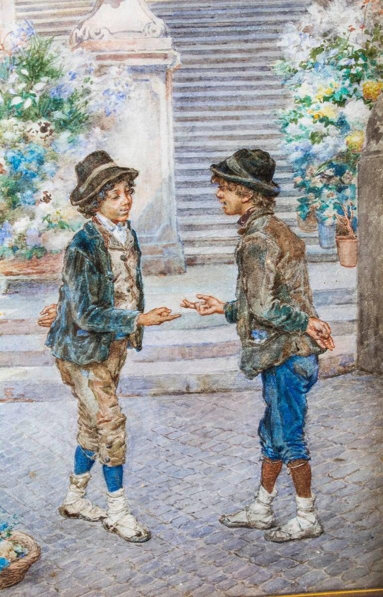 Canvas 19th Century Watercolour Ettore Ascenzi
