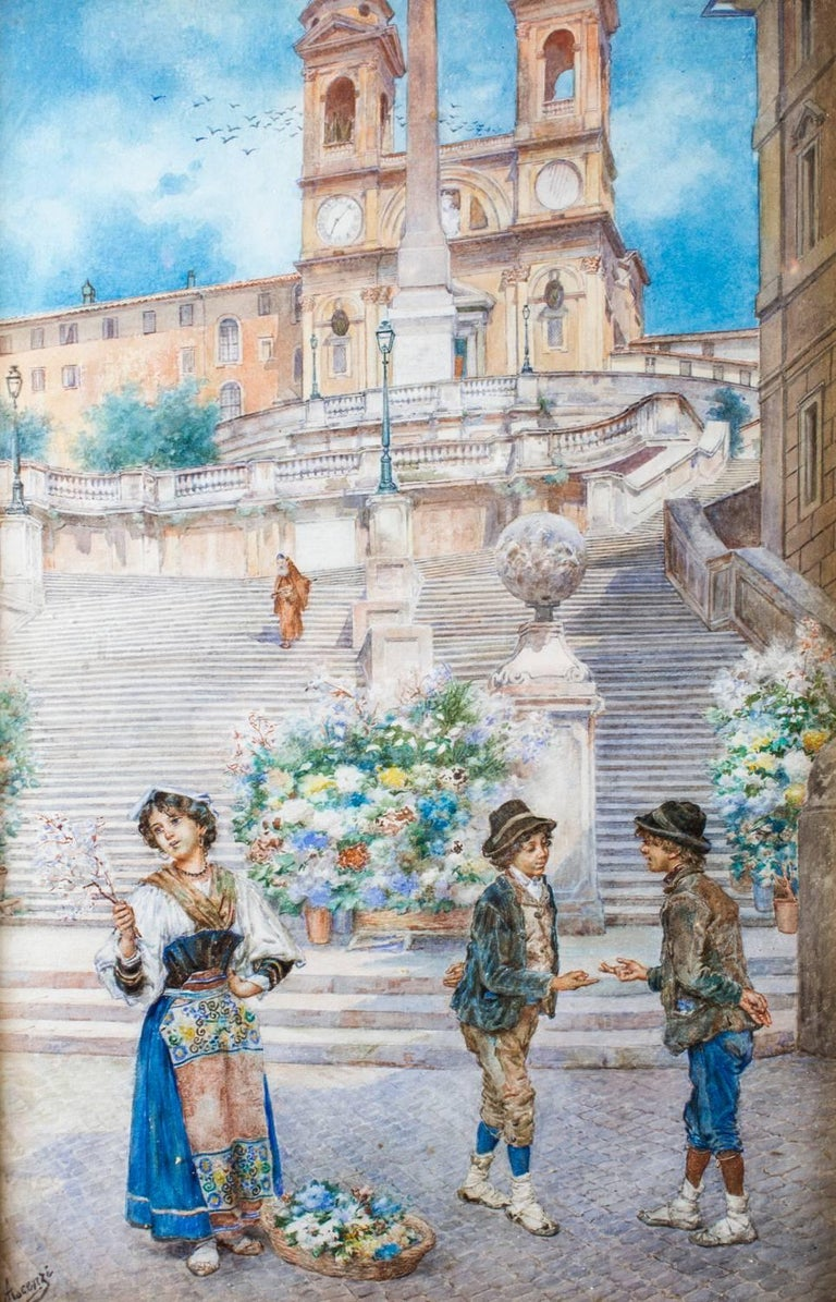 This is a beautiful antique watercolour study by Ettore Ascenzi of the Spanish Steps, Rome, circa 1890.