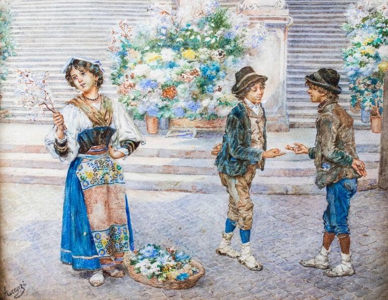 Italian 19th Century Watercolour Ettore Ascenzi