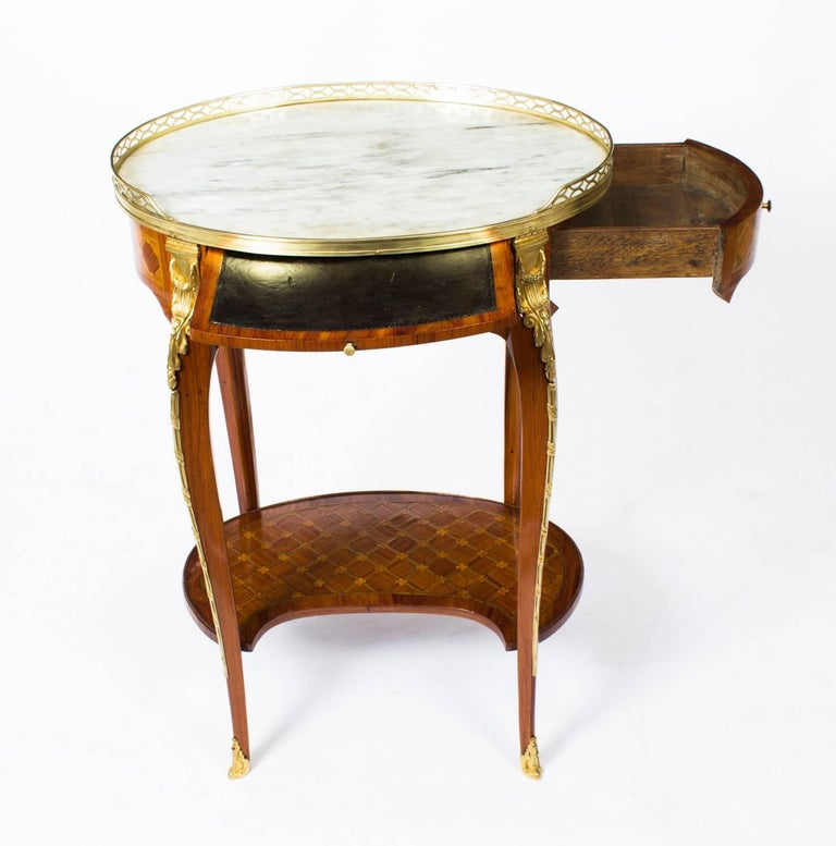 19th century french kingwood and parquetry gueridon for Table th width