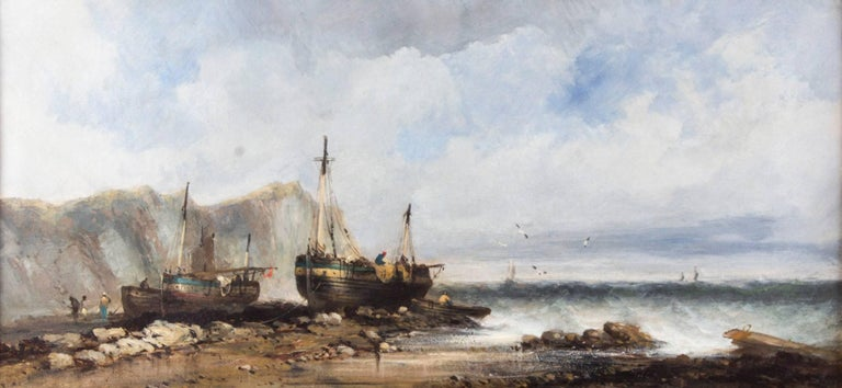 Antique Pair of Seascape Oil Paintings Fishing Boats, 19th Century For Sale 2