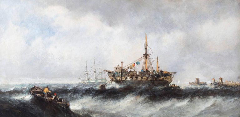 British Antique Pair of Seascape Oil Paintings Fishing Boats, 19th Century For Sale