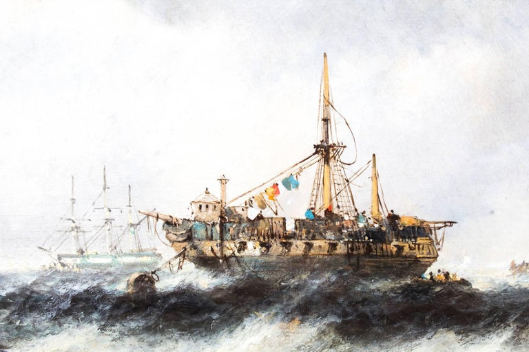 Antique Pair of Seascape Oil Paintings Fishing Boats, 19th Century In Excellent Condition For Sale In London, GB