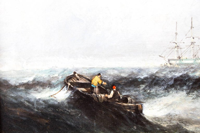 Canvas Antique Pair of Seascape Oil Paintings Fishing Boats, 19th Century For Sale