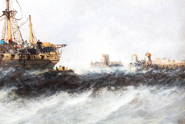 Mid-19th Century Antique Pair of Seascape Oil Paintings Fishing Boats, 19th Century For Sale