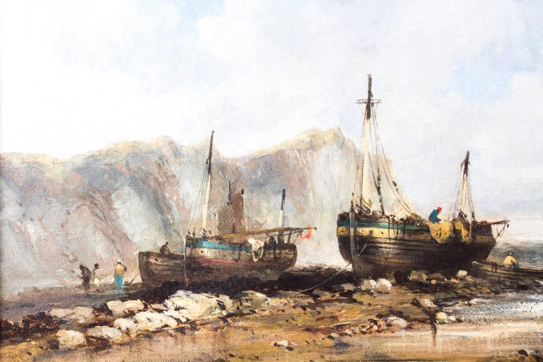 Antique Pair of Seascape Oil Paintings Fishing Boats, 19th Century For Sale 3