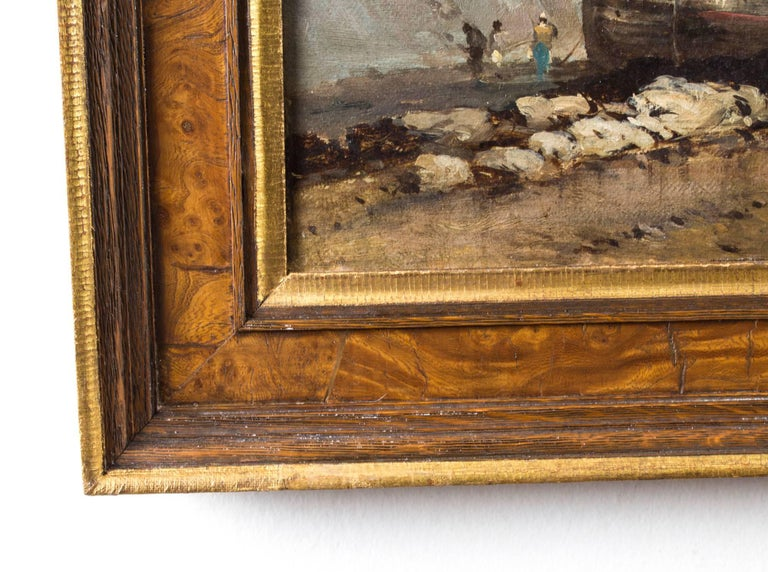 Antique Pair of Seascape Oil Paintings Fishing Boats, 19th Century For Sale 4