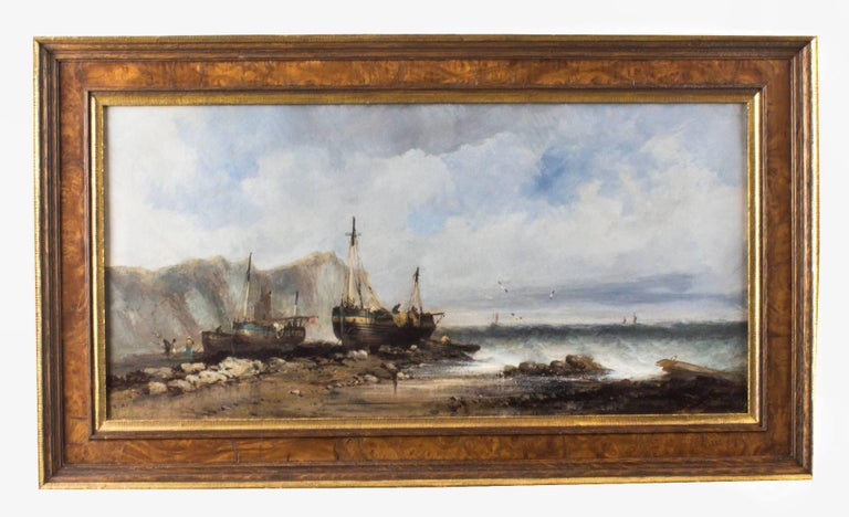 Antique Pair of Seascape Oil Paintings Fishing Boats, 19th Century For Sale 1