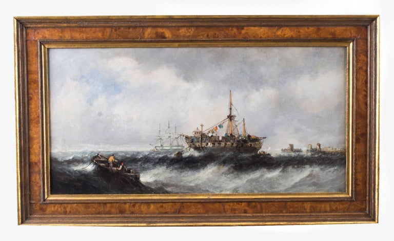 A wonderful pair of seascape paintings of fishing boats attributed to William Mcalpine (British 19th century) titled 'Beached Fishing Vessels' and 'Shipping in Rough Seas', circa 1860 in date.   This is a pair of sensitively painted waterscapes of