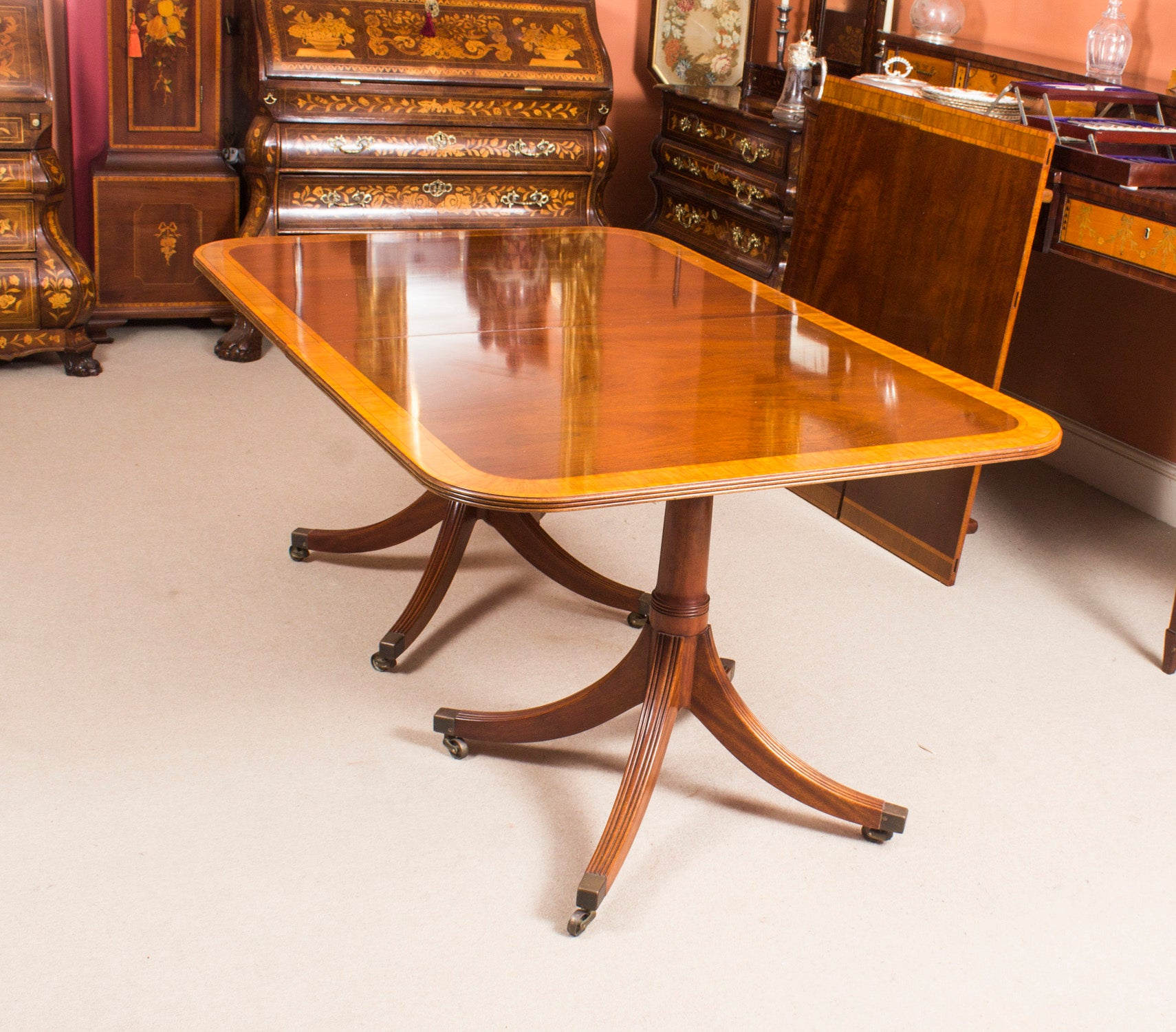 Vintage dining table by william tillman harrods and ten chairs at 1stdibs