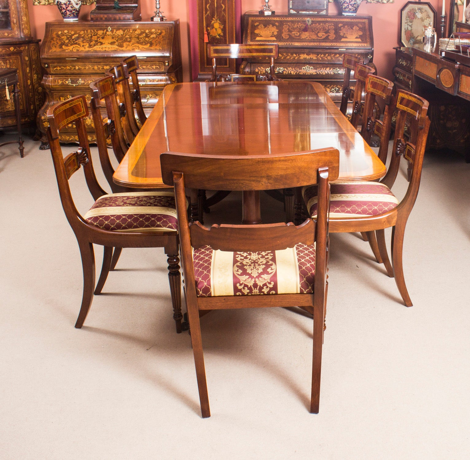 vintage dining table by william tillman harrods and ten chairs at