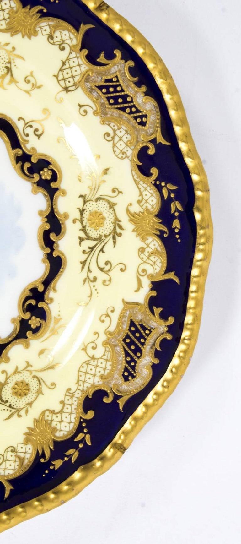 English Antique Coalport Porcelain Plate Lake Menteith, 1891 For Sale