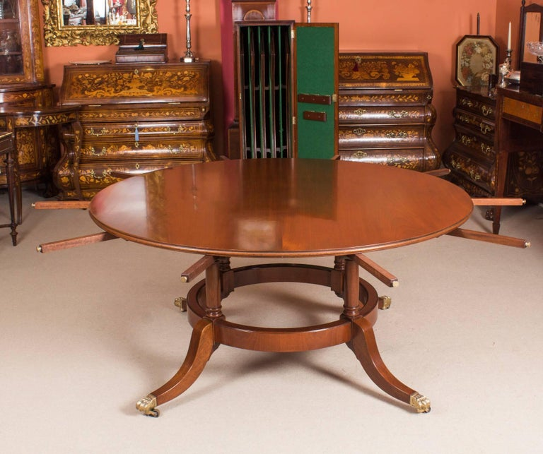 Regency Revival Vintage Mahogany Jupe Dining Table And Leaf Cabinet Mid 20th Century For