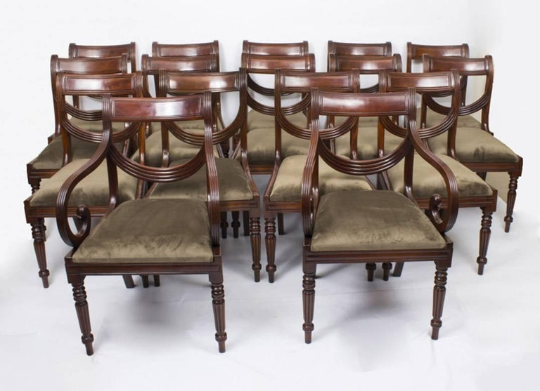 Antique Victorian Mahogany Twin Base Dining Table 19th Century and 14 Chairs  For Sale 3 - Antique Victorian Mahogany Twin Base Dining Table 19th Century And