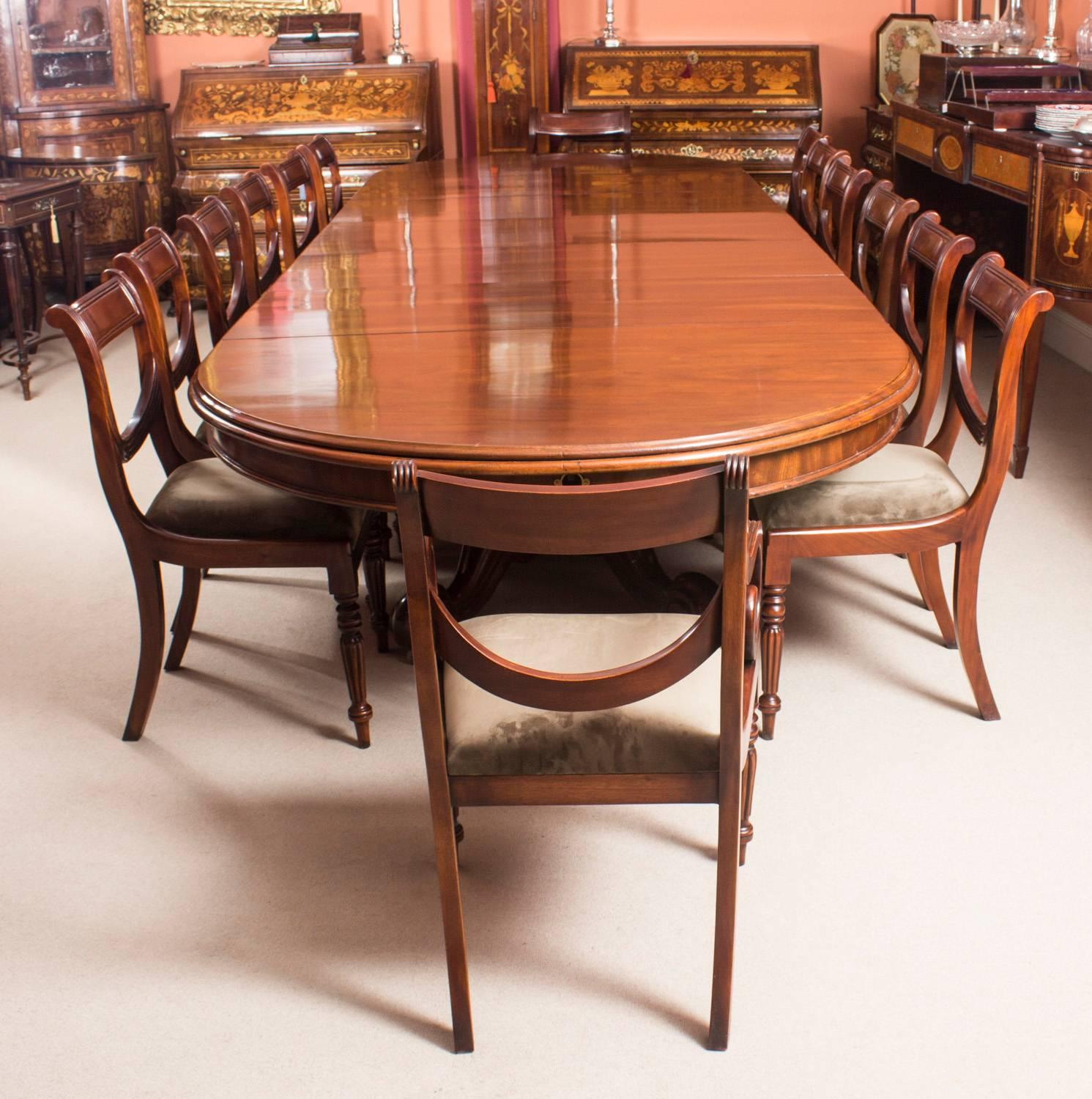 A Fantastic And Rare Antique Early Victorian Dining Set, Comprising A 14ft  Dining Table,