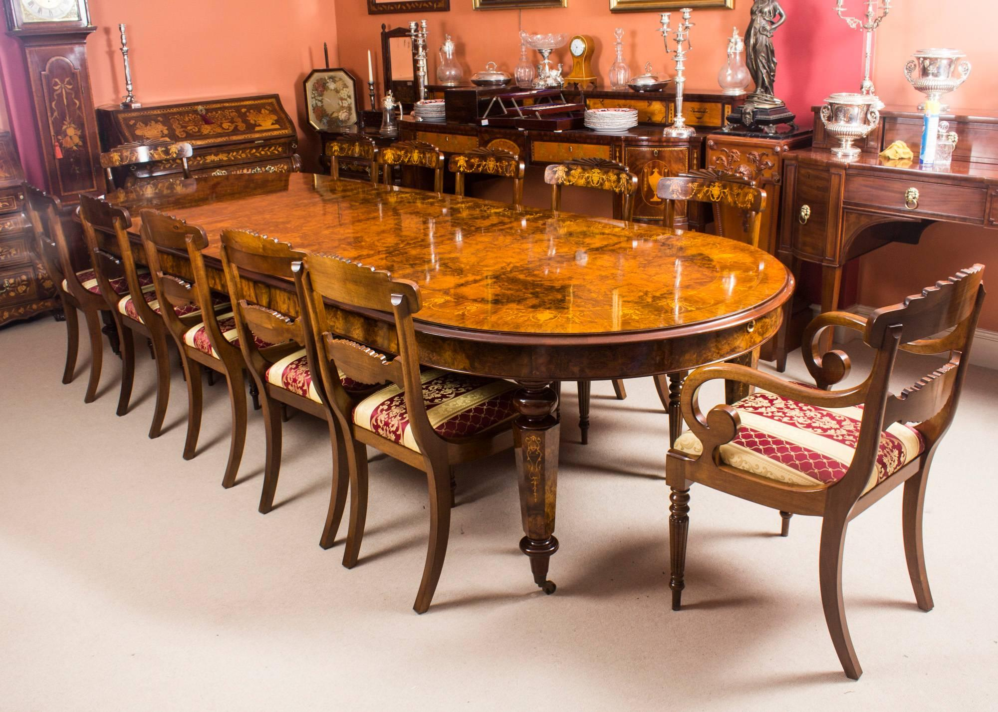 Amazing Bespoke Handmade Victorian Style Burr Walnut Marquetry Dining Table At 1stdibs