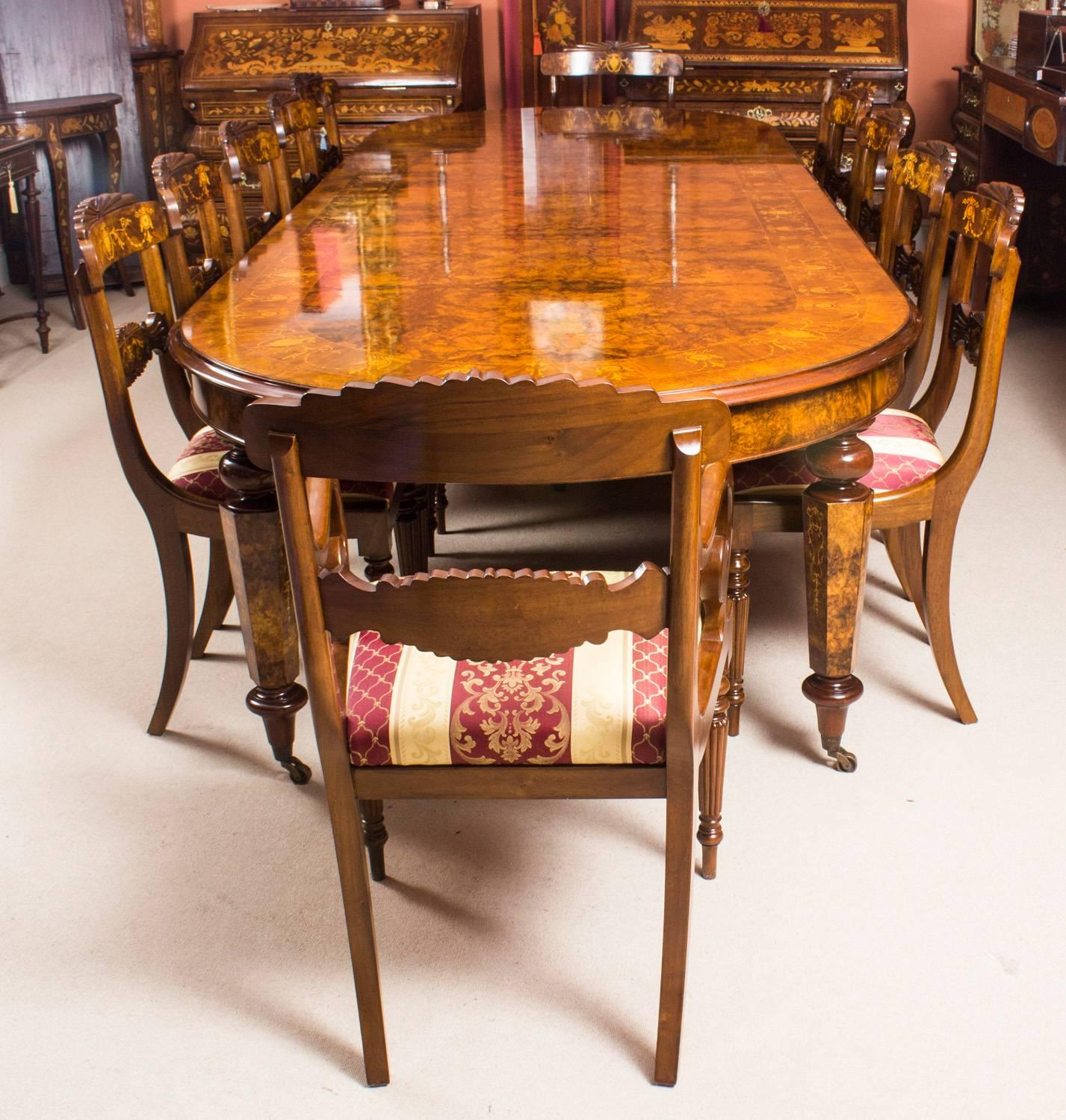 Bespoke Handmade Burr Walnut Marquetry Dining Table and 12 Chairs at ...