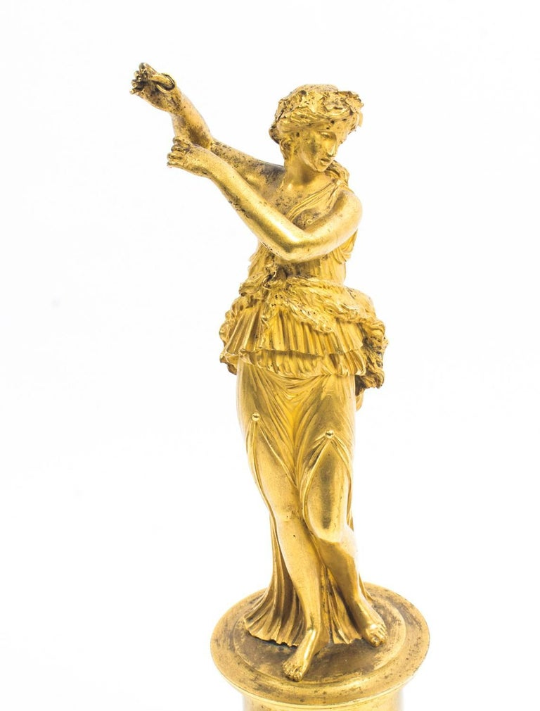 Early 19th Century 19th Century Pair of French Ormolu Classical Maidens Dancing For Sale