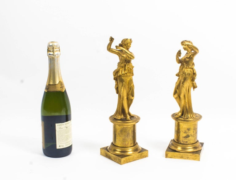 19th Century Pair of French Ormolu Classical Maidens Dancing For Sale 6