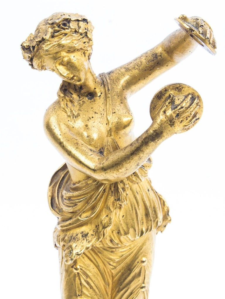 19th Century Pair of French Ormolu Classical Maidens Dancing For Sale 5