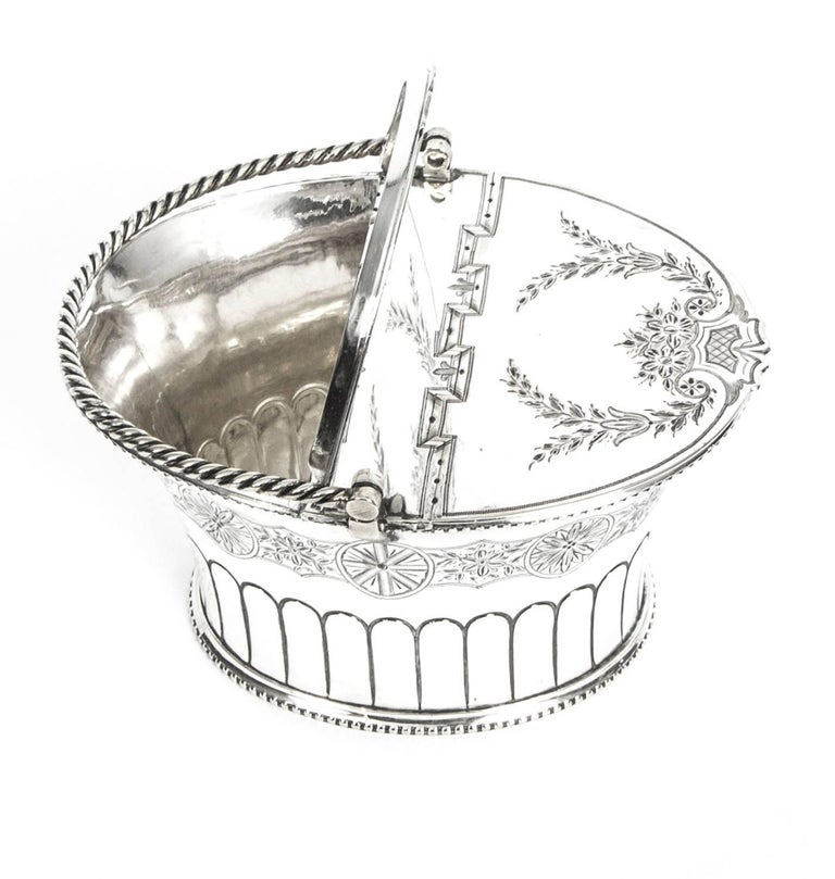 Mid-19th Century Antique Silver Plated Victorian Sweet Basket 19th Century For Sale
