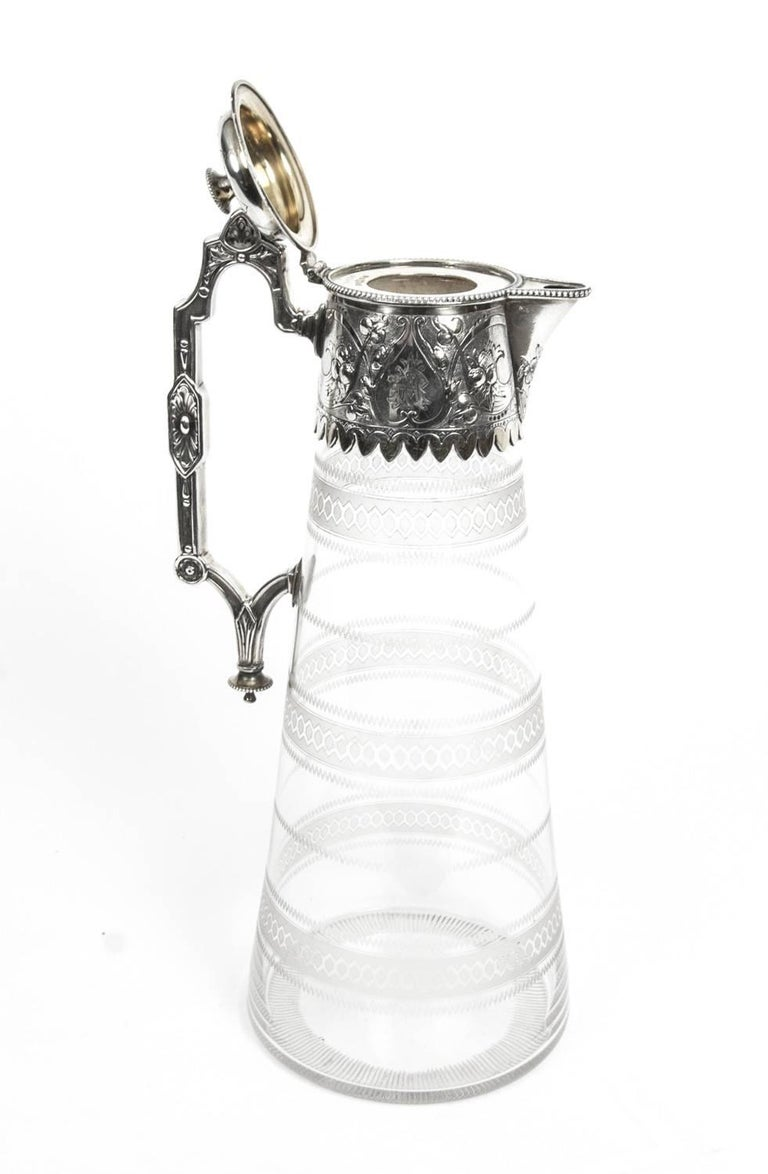 Antique Victorian Silver Plate and Crystal Claret Jug Elkington, 19th Century For Sale 2