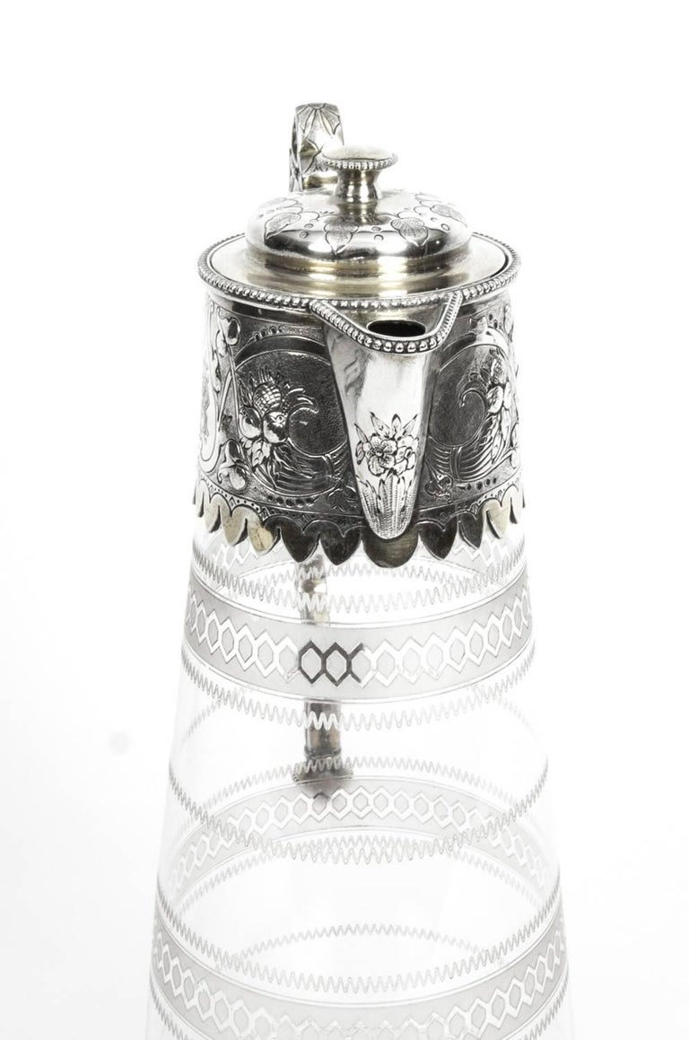 Antique Victorian Silver Plate and Crystal Claret Jug Elkington, 19th Century For Sale 1