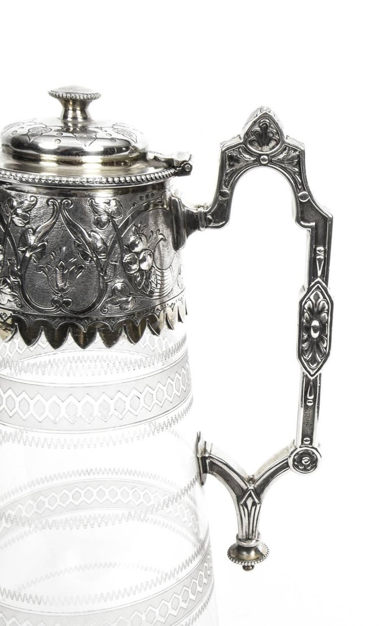 Antique Victorian Silver Plate and Crystal Claret Jug Elkington, 19th Century In Excellent Condition For Sale In London, GB