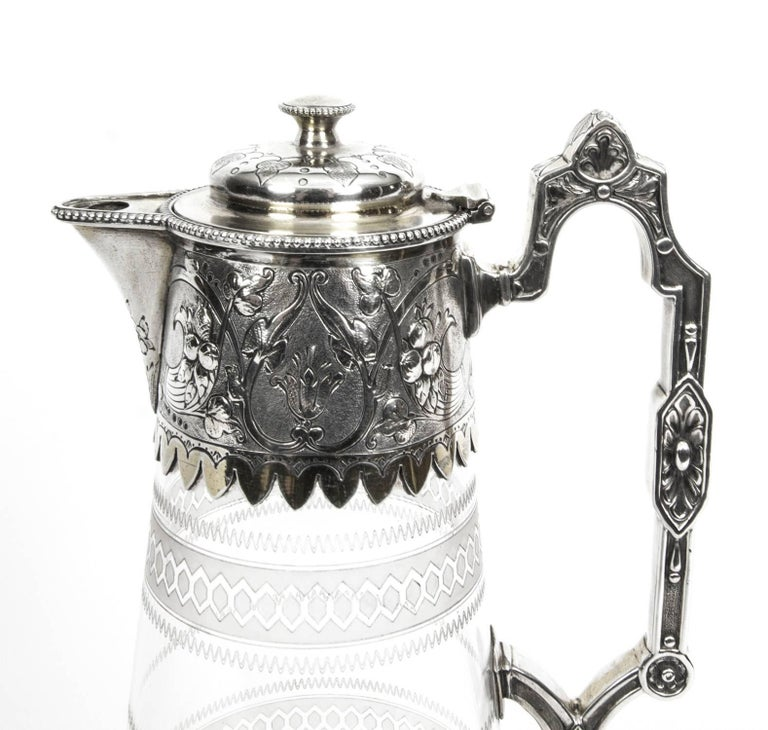 English Antique Victorian Silver Plate and Crystal Claret Jug Elkington, 19th Century For Sale