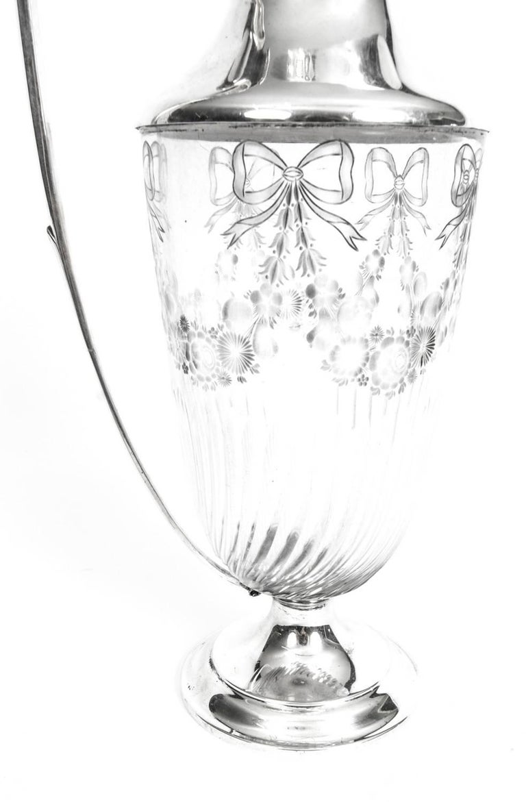 Antique Victorian Silver and Engraved Crystal Claret Jug