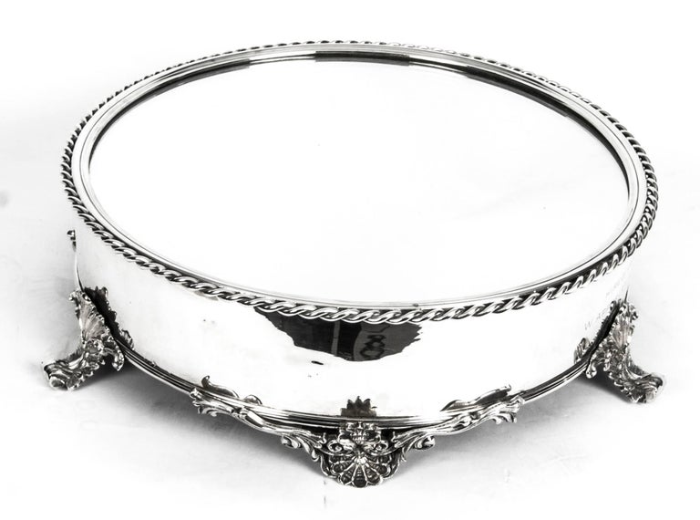 Antique English Silver Plated Cake Stand Elkington 19th Century In Excellent Condition For Sale In London, GB